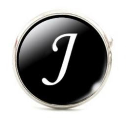Large Silver Plated Single Letter (J) Cufflink