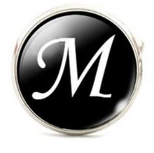 Load image into Gallery viewer, Large Silver Plated Single Letter (M) Cufflink - Crazy Cuffs