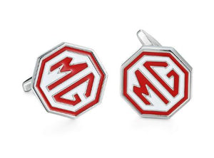 Red and White Enamel MG Cufflinks - Crazy Cuffs
