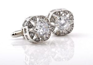 Stunning Silver Cufflinks with CZ Crystals - Crazy Cuffs