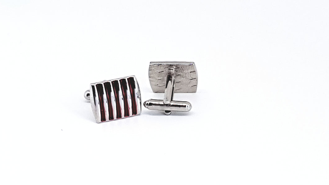 Silver and Red Rectangle Cufflinks - Crazy Cuffs