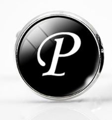 Large Silver Plated Single Letter (P) Cufflink - Crazy Cuffs
