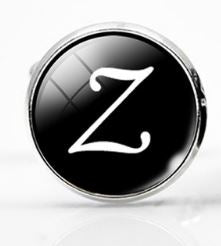 Small Silver Plated Single Letter (Z) Cufflink