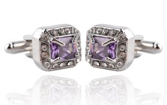 Stylish Purple and CZ Crystal Cufflinks - Crazy Cuffs