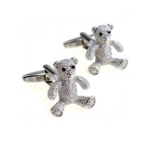 Cute Silver Teddy Bear Cufflinks - Crazy Cuffs