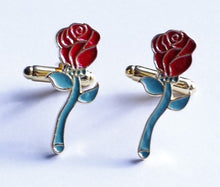 Load image into Gallery viewer, Beauty and the Beast Rose Cufflinks - Crazy Cuffs