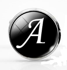 Large Silver Plated Single Letter (A) Cufflink
