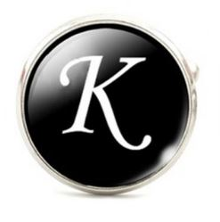 Large Silver Plated Single Letter (K) Cufflink