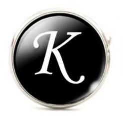 Small Silver Plated Single Letter (K) Cufflink