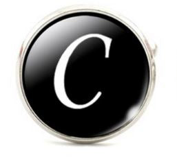 Small Silver Plated Single Letter (C) Cufflink