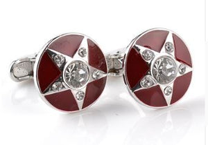 Silver and Red Cufflinks with CZ Crystals - Crazy Cuffs