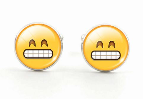 Fun Glass Cabochon Emoji Cufflinks - Crazy Cuffs