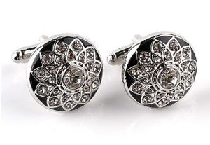 Silver and Black Cufflinks with CZ Crystals - Crazy Cuffs