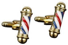 Load image into Gallery viewer, Gold Barber Shop Cufflinks - Crazy Cuffs