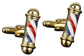 Gold Barber Shop Cufflinks - Crazy Cuffs