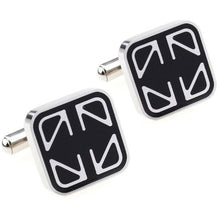 Load image into Gallery viewer, Stylish Silver and Black Cufflinks - Crazy Cuffs