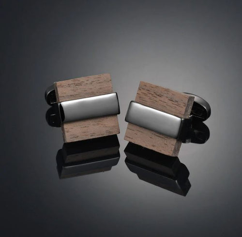 Stylish Wood Block Cufflinks - Crazy Cuffs