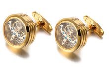 Load image into Gallery viewer, Gold Steampunk Round Watch Gear Cufflinks - Crazy Cuffs