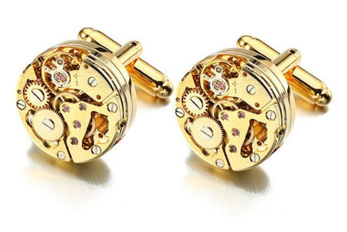 Gold Steampunk Round Watch Gear Cufflinks - Crazy Cuffs