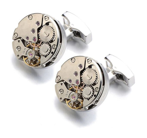 Frameless Steampunk Round Watch Gear Cufflinks - Crazy Cuffs