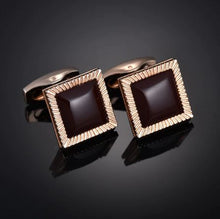 Load image into Gallery viewer, Gold and Black Square Cufflinks - Crazy Cuffs
