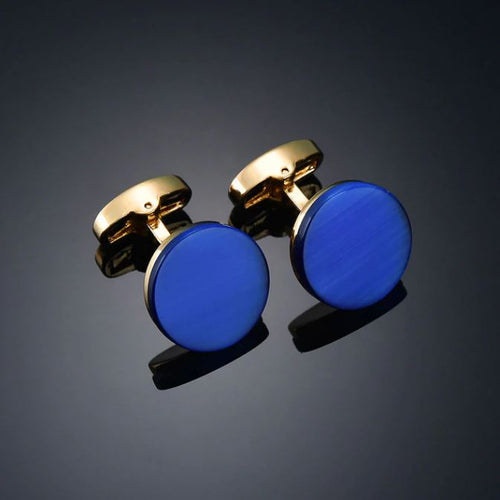 Stylish Gold and Blue Round Cufflinks - Crazy Cuffs