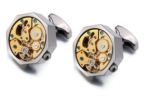 Gun Metal Gray Steampunk Watch Gear Cufflinks - Crazy Cuffs
