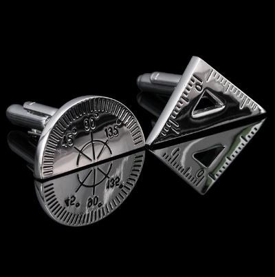 Protractor and Set Square Cufflinks - Crazy Cuffs