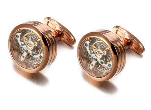 Rose Gold Steampunk Round Watch Gear Cufflinks - Crazy Cuffs