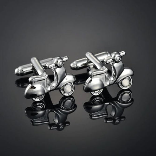Silver Moped Cufflinks - Crazy Cuffs