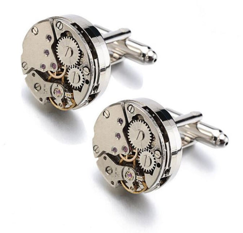 Silver Steampunk Round Watch Gear Cufflinks - Crazy Cuffs