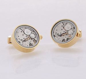 Gold Steampunk Watch Gear Cufflinks - Crazy Cuffs