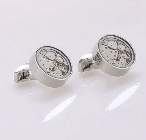 Silver Steampunk Watch Gear Cufflinks - Crazy Cuffs