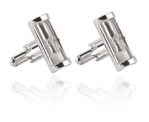 White Hour Glass Cufflinks - Crazy Cuffs