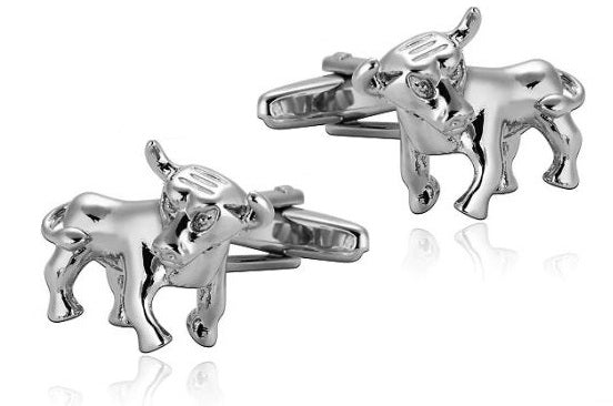 Silver Bull Cufflinks - Crazy Cuffs