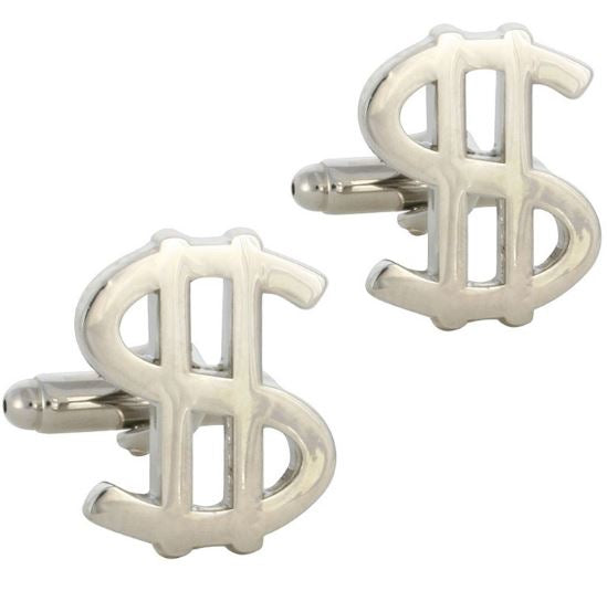 Silver Dollar Sign Cufflinks - Crazy Cuffs