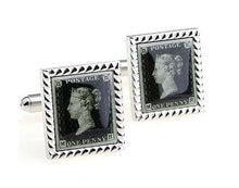 Load image into Gallery viewer, Penny Black Stamp Cufflinks - Crazy Cuffs