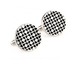 Stylish Silver, Black and White Cufflinks - Crazy Cuffs