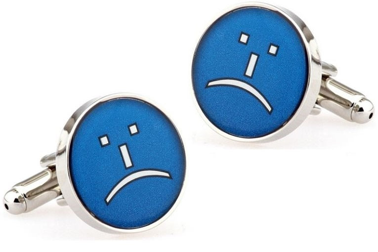 Sad Grumpy Face Cufflinks - Crazy Cuffs