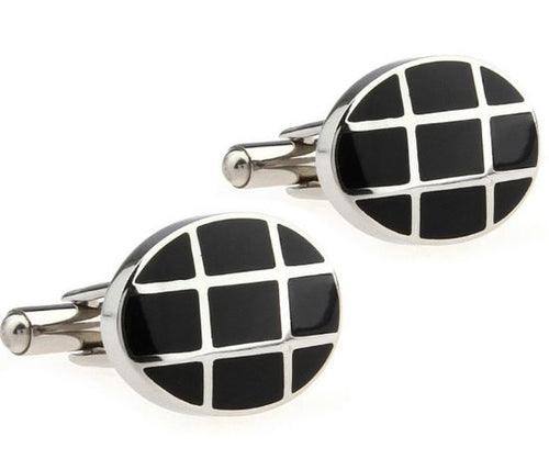 Classy Silver and Black Cufflinks - Crazy Cuffs
