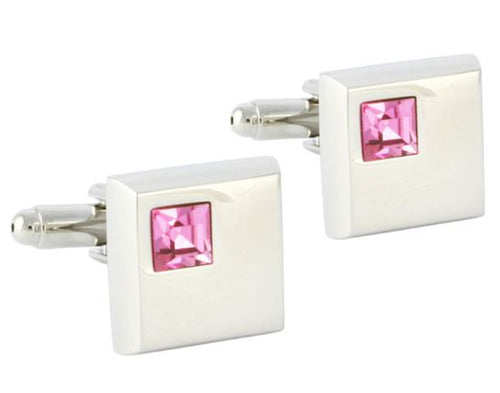 Classic Square Cufflinks with a Pink CZ Stone - Crazy Cuffs