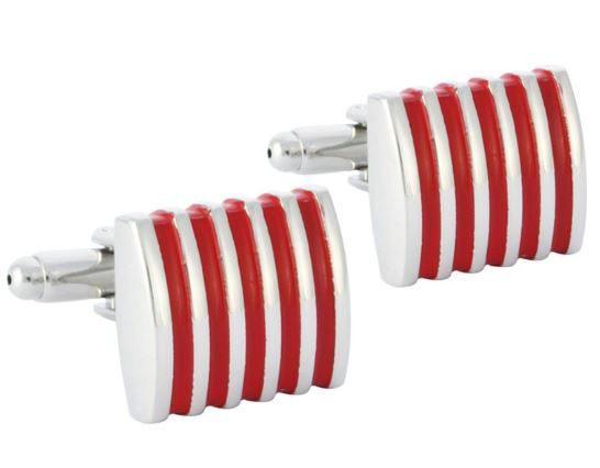 Silver and Red Cufflinks - Crazy Cuffs