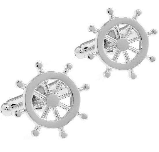 Silver Ships Wheel Cufflinks - Crazy Cuffs
