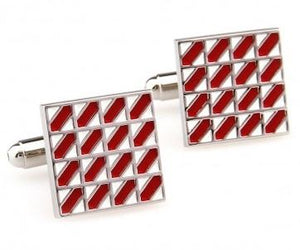 Stylish Silver and Red Cufflinks - Crazy Cuffs