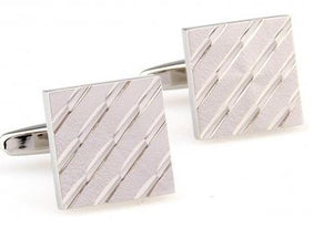 Stylish Silver Square Cufflinks - Crazy Cuffs