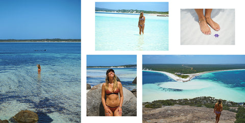 Eco Friendly reversible bikinis at Duke of Orleans Bay whale watching and view over the bay