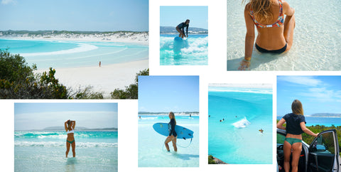 Sustainable Surf suit and eco friendly bikini at Wharton Beach, Esperance Western Australia