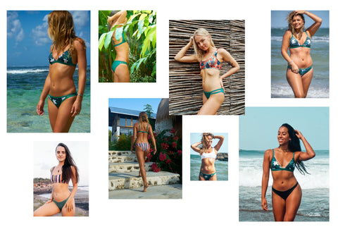 Jungle/ green reversible surf bikinis made from recycled ocean plastics