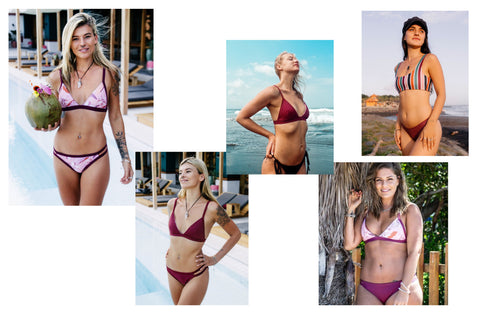 pretty in pink and wine reversible, mix and match eco friendly bikinis