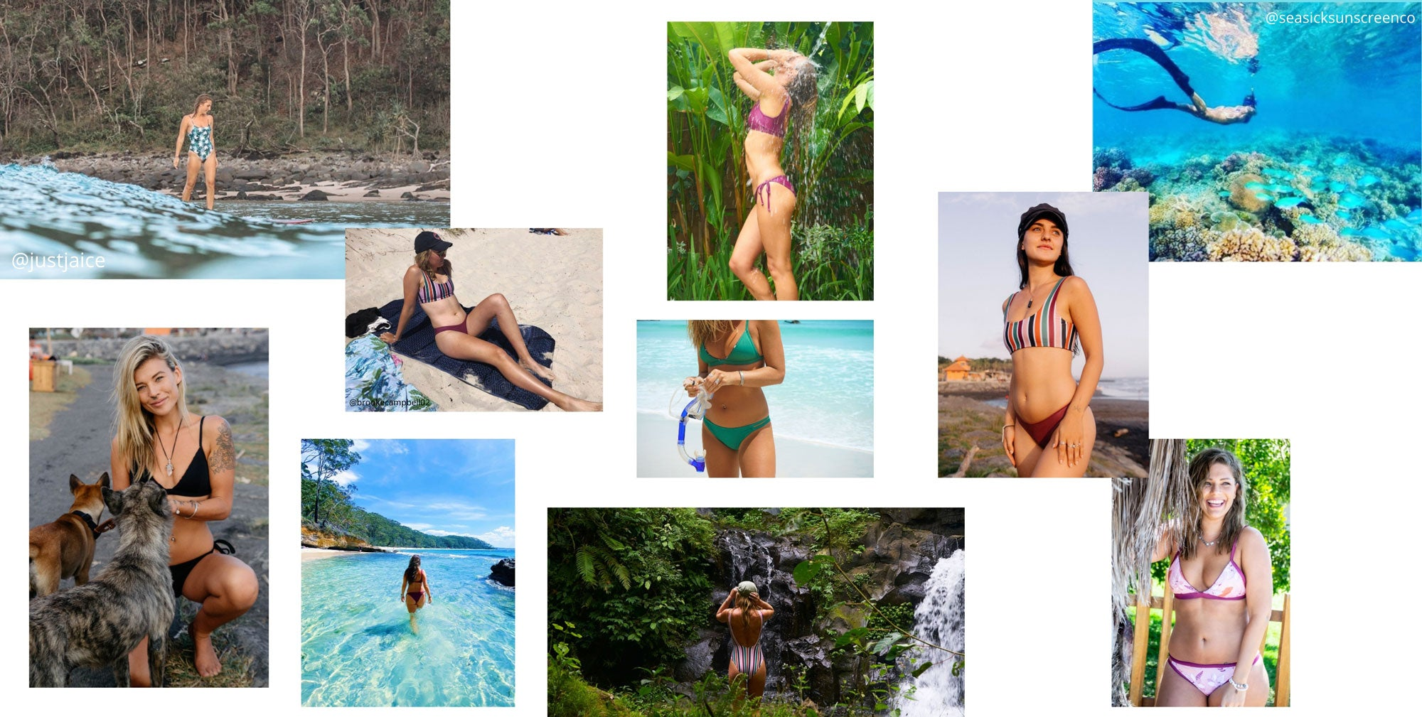 Sustainable swimwear. Women's reversible bikinis, one pieces and surf suits made from recycled plastics
